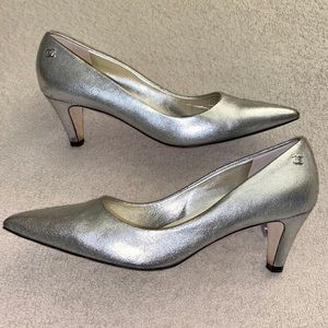 Chanel Logo Silver Classic Pointed Toe Pumps